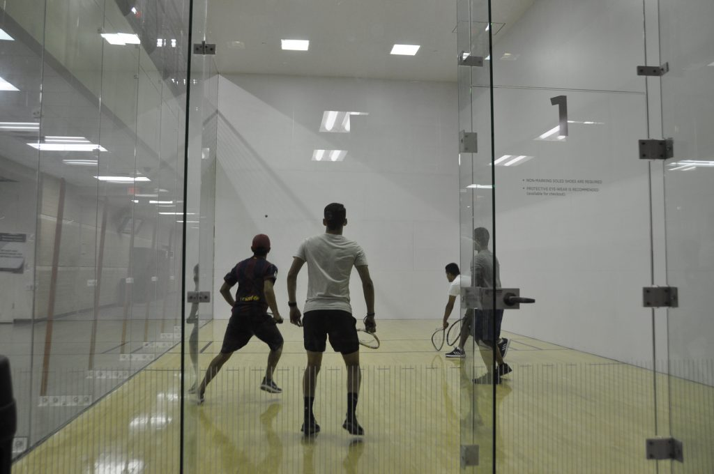 Students playing on the RWC Racquetball courts