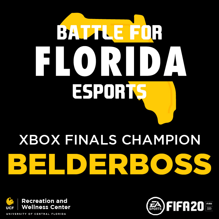 Battle for Florida Esports, XBOX Finals Champion Belderboss (FIFA20) UCF Recreation adn WEllness Center Logo