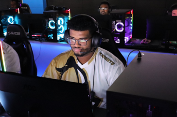 On the left, Ahmed Al Busaidi represents UCF as a member of the Esports Club. On the right, Busaidi wear a traditional Omani wear.