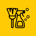 Broom and Sanistizer bottle and bubbles icons on yellow background