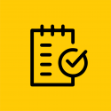 Note pad and check mark icons on a yellow background.
