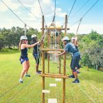 Group of students on the high element challenge course