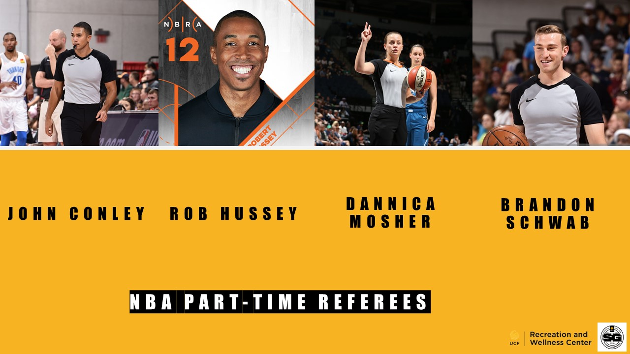 NBA PART-TIME OFFICIALS PICTURE WITH FOUR SEPARATE IMAGES OF UCF ALUMNI JOHN CONLEY, ROBERT HUSSEY, DANNICA MOSHER, AND BRANDON SCHWAB IN NBA REFEREE UNIFORMS.